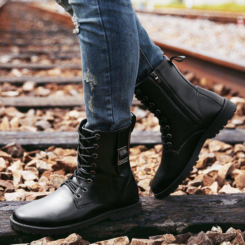 PU Leather Eyelet Buckle Strap Combat Boots - BLACK 43
