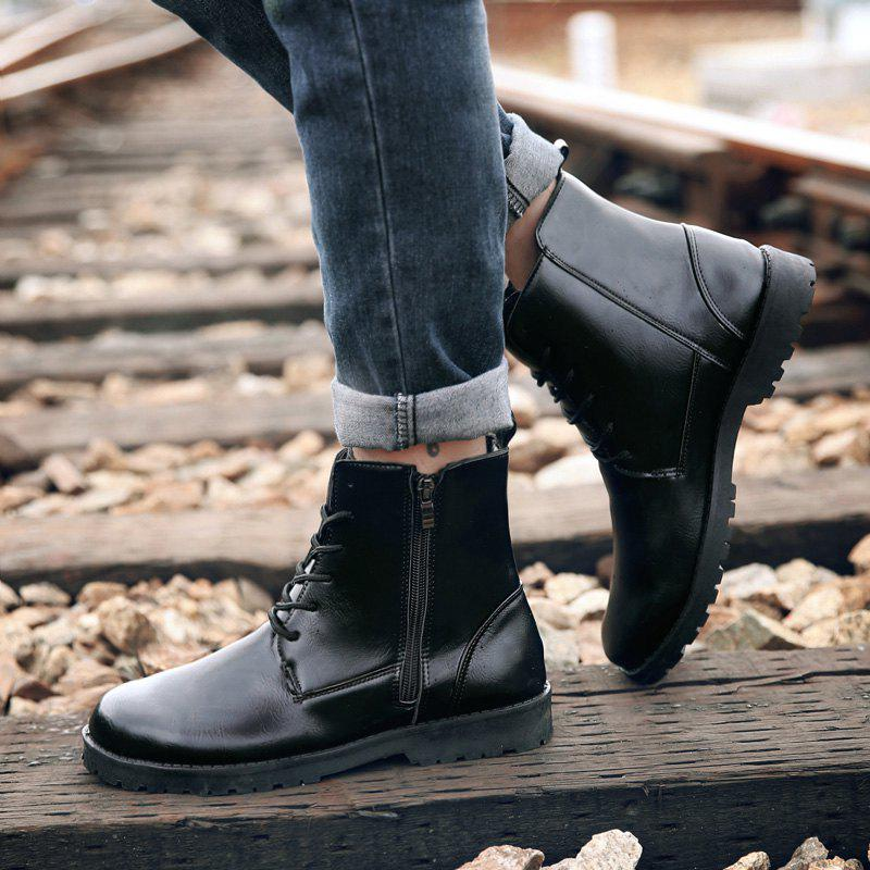 Casual Lace Up PU Leather Combat Boots - BLACK 43