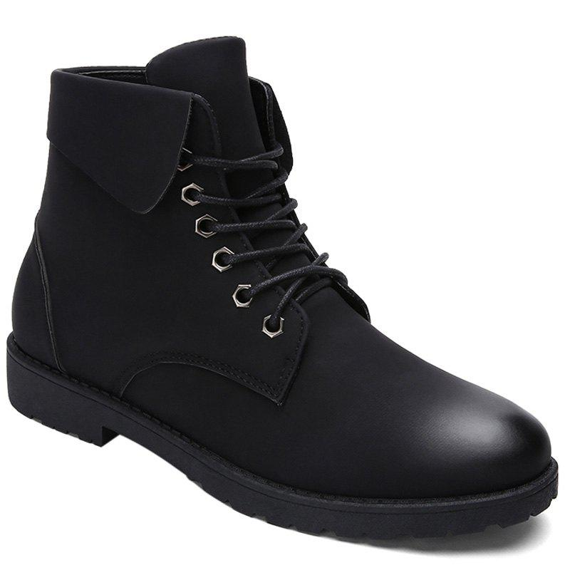 Fold Down Eyelet Lace Up Combat Boots - BLACK 43
