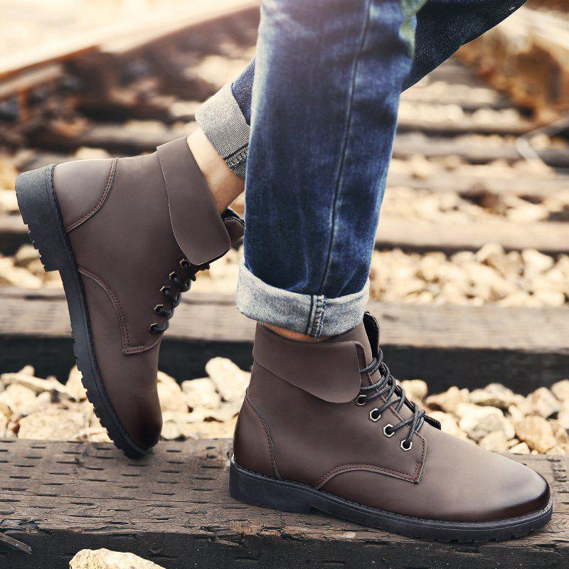 Fold Down Eyelet Lace Up Combat Boots - BROWN 43