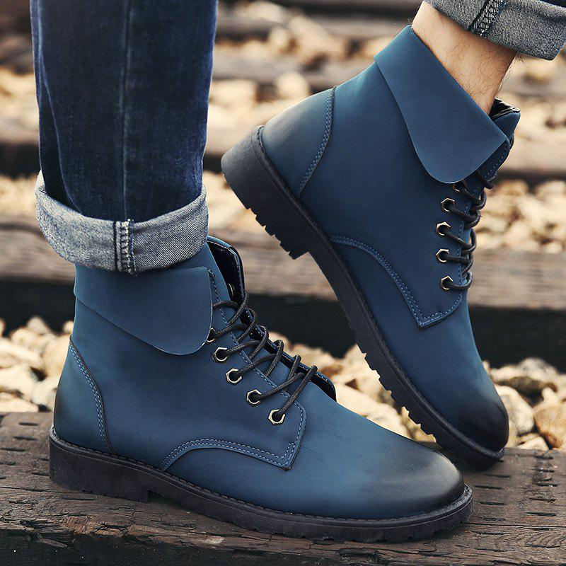 Fold Down Eyelet Lace Up Combat Boots - BLUE 40