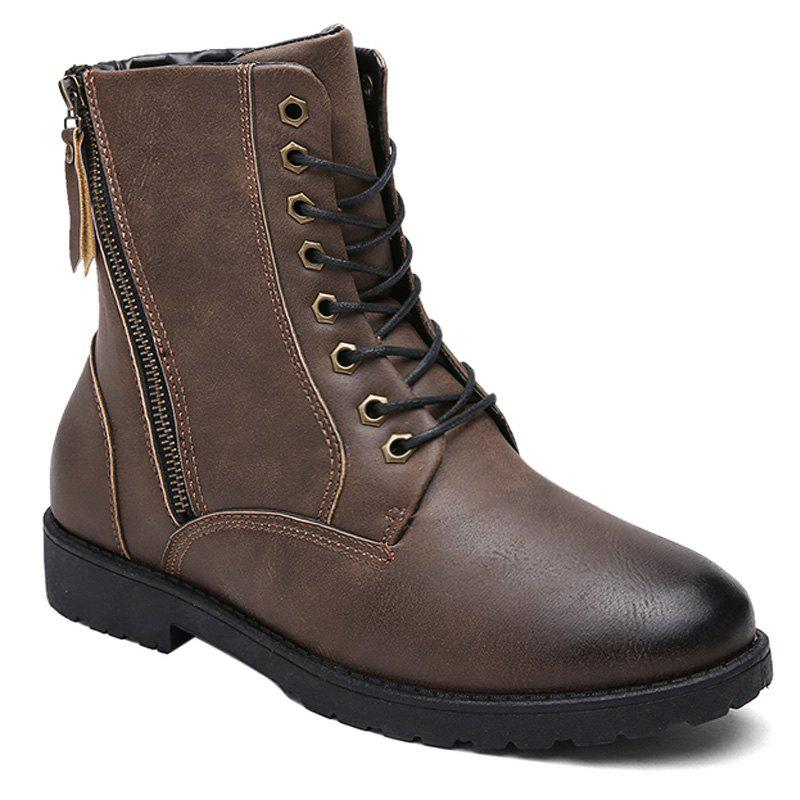 Side Zip Eyelet PU Leather Combat Boots - DEEP BROWN 40