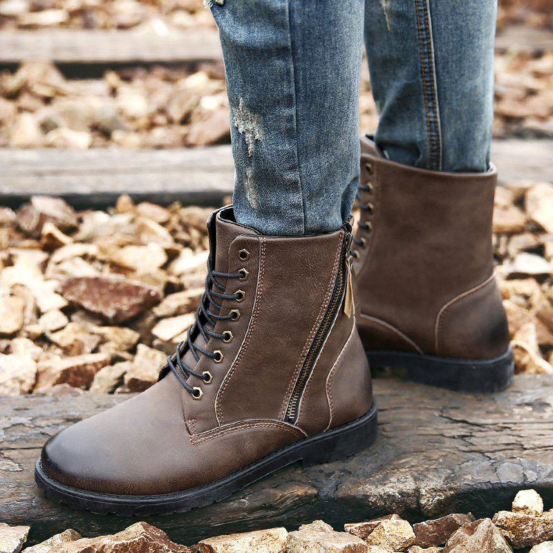 Side Zip Eyelet PU Leather Combat Boots - DEEP BROWN 42