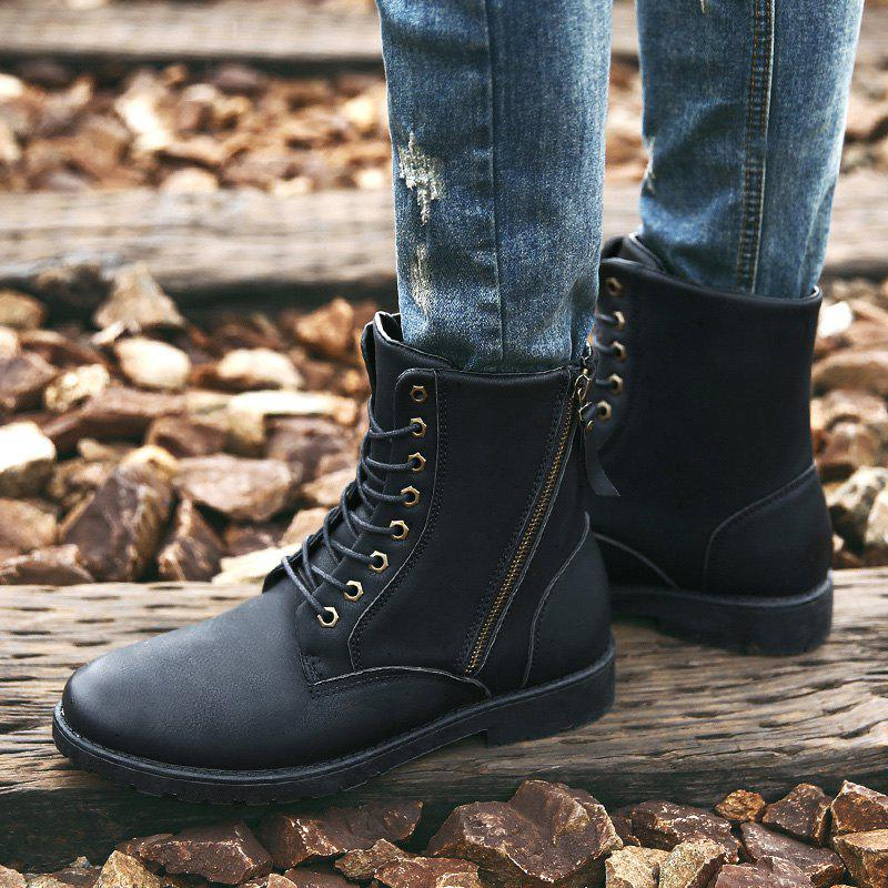 Side Zip Eyelet PU Leather Combat Boots - BLACK 44
