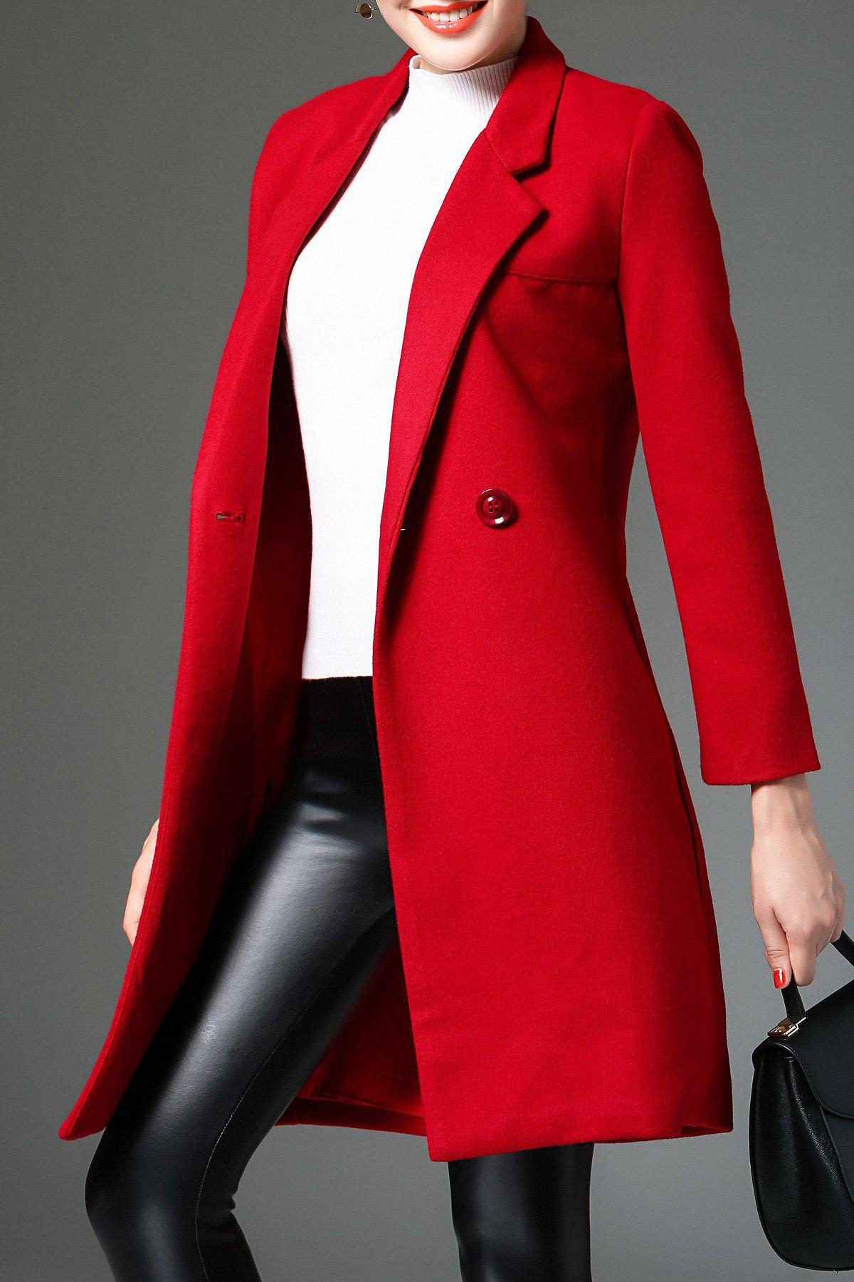 Lapel Cotton Blend CoatWomen<br><br><br>Size: S<br>Color: RED