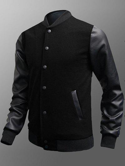 Snap Button Up Side Pocket PU Insert Jacket - BLACK 3XL