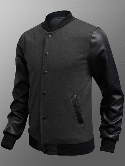 Snap Button Up Side Pocket PU Insert Jacket - DEEP GRAY 3XL