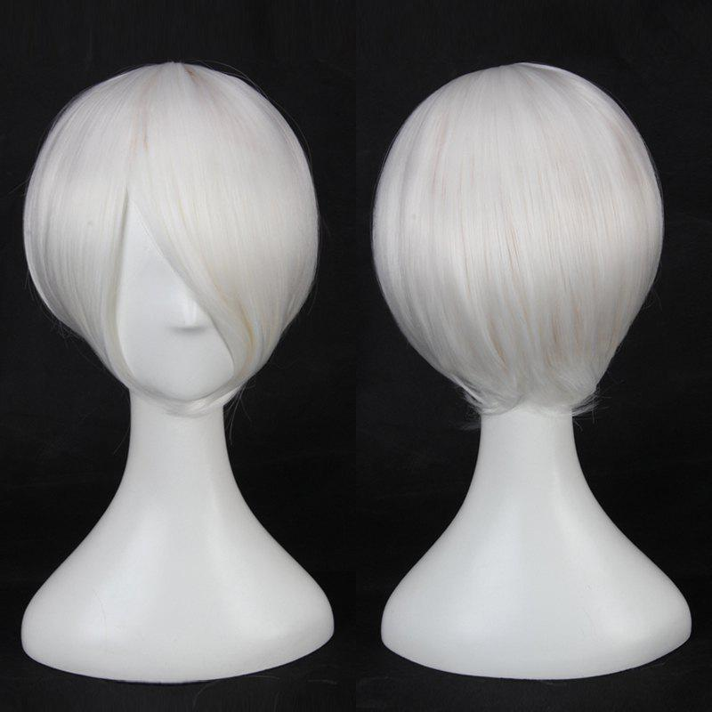Multicolor Short Oblique Bang Straight Cosplay Synthetic Wig - WHITE