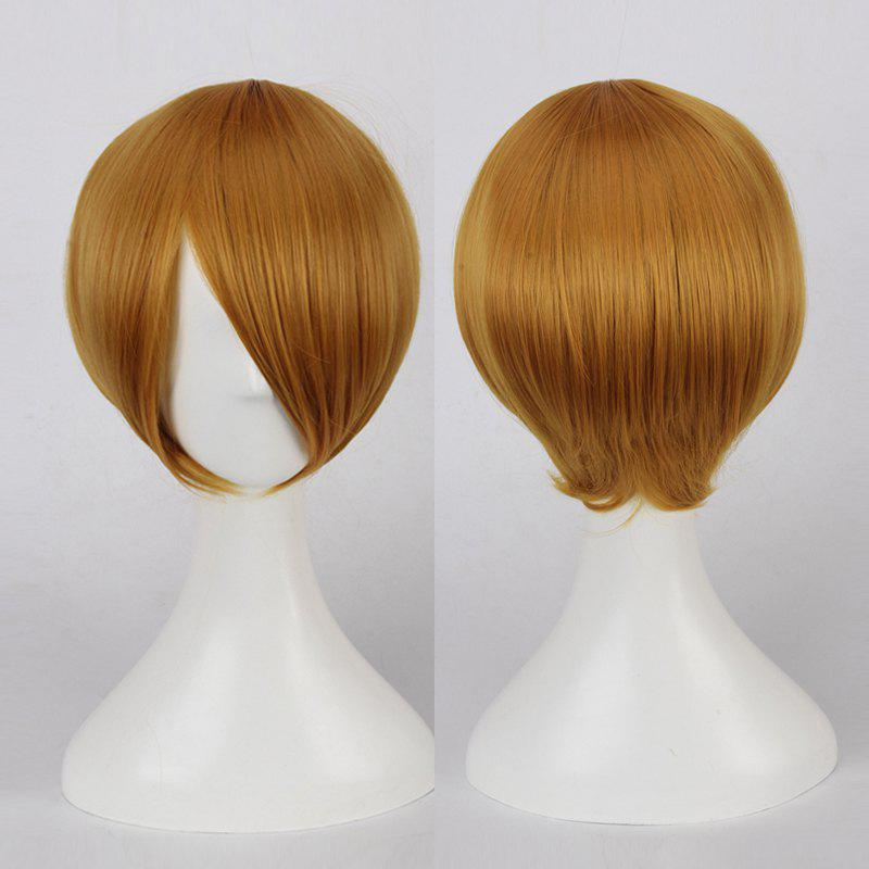 Multicolor Short Oblique Bang Straight Cosplay Synthetic Wig - MARIGOLD
