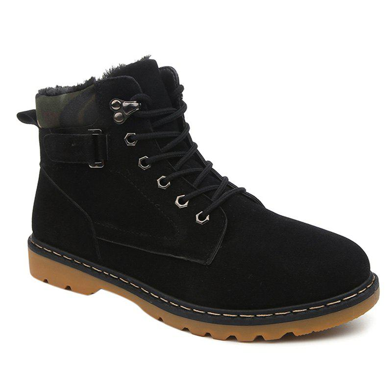 Suede Eyelet Lace Up Short Boots - BLACK 42