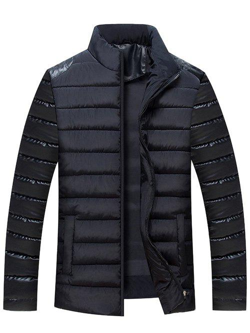 Stand Collar Zip Up PU Leather Panel Quilted Jacket - BLACK L