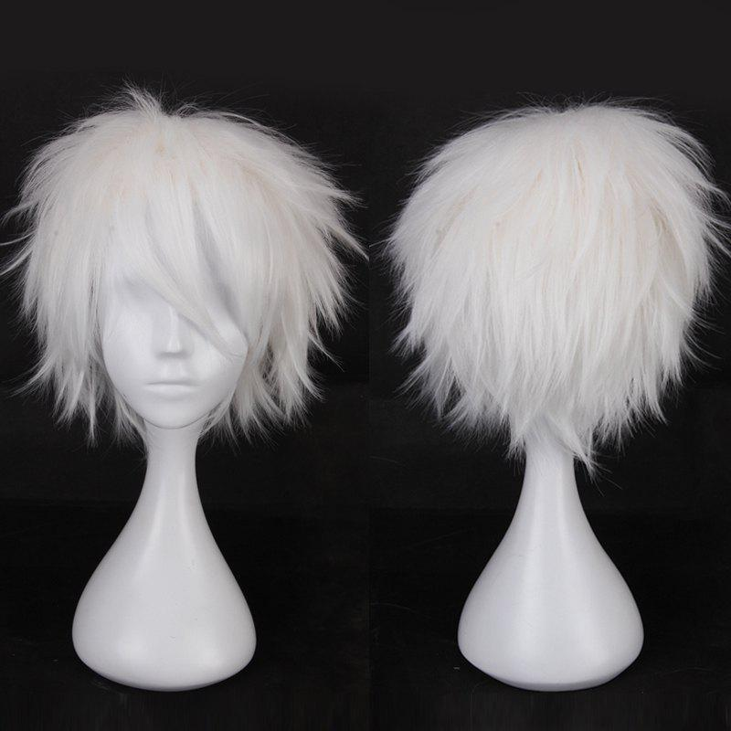 Multicolor Short Oblique Bang Fluffy Straight Cosplay Synthetic Wig cosplay party makeup tilted bang short straight chemical fiber hair wig golden