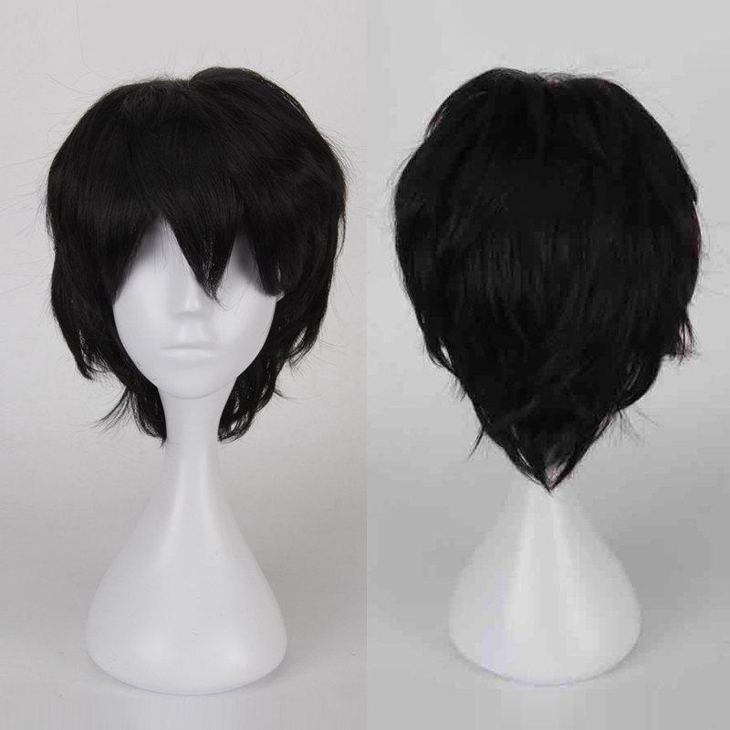Multicolor Short Oblique Bang Fluffy Straight Cosplay Synthetic Wig - BLACK