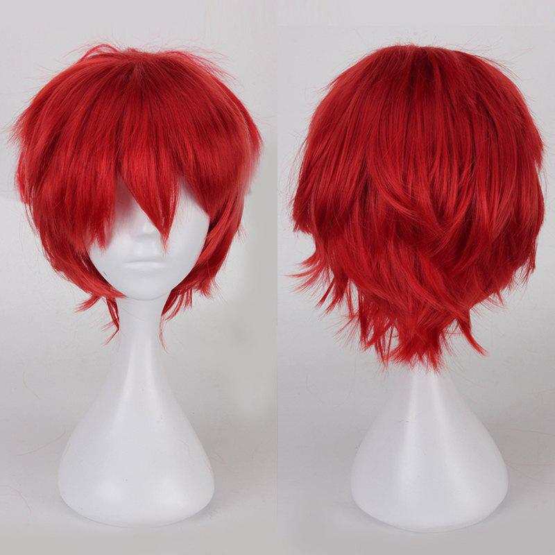 Multicolor Short Oblique Bang Fluffy Straight Cosplay Synthetic Wig - DARK RED