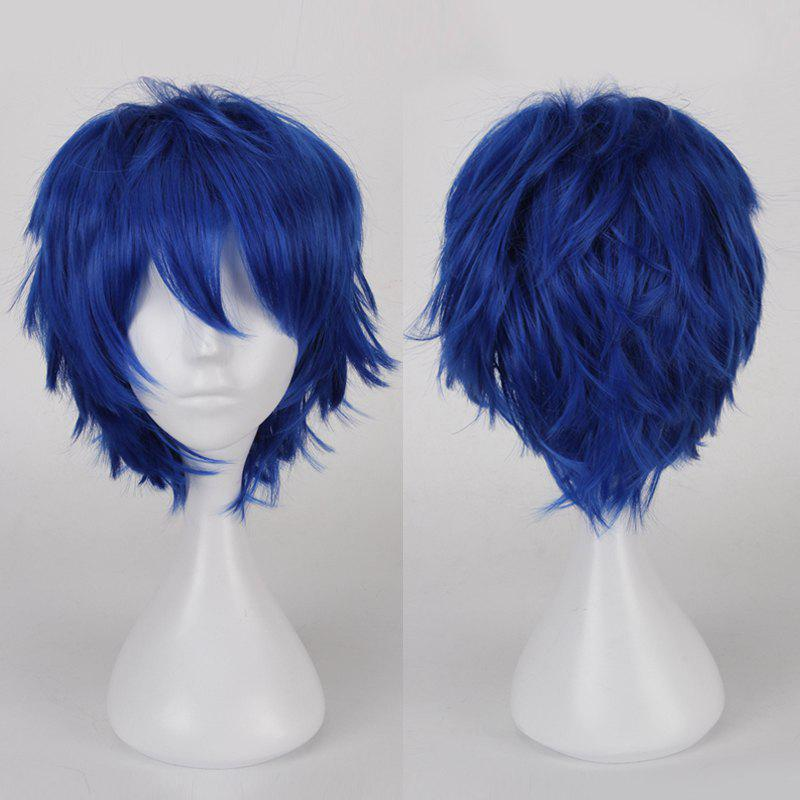 Multicolor Short Oblique Bang Fluffy Straight Cosplay Synthetic Wig