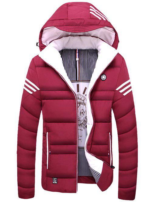 Striped Zip Up Hooded Quilted Jacket - RED L
