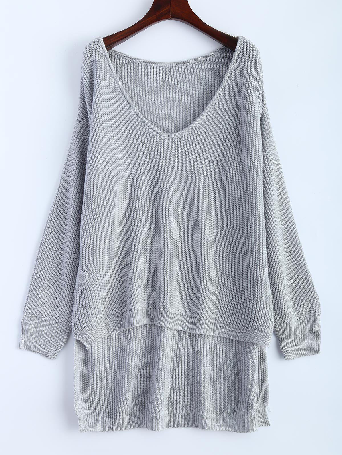 V Neck High Low Oversized Pullover Sweater, GRAY, ONE SIZE in ...