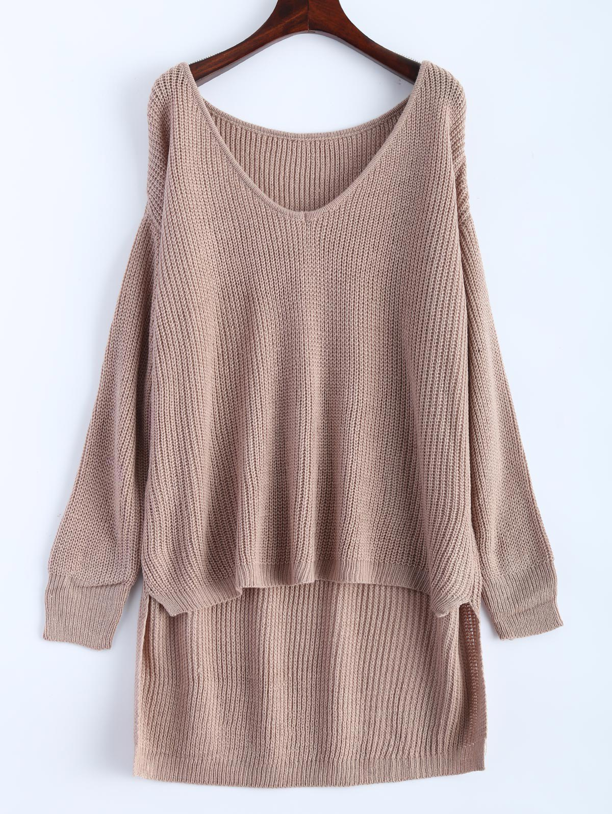V Neck High Low Oversized Pullover Sweater, KHAKI, ONE SIZE in ...