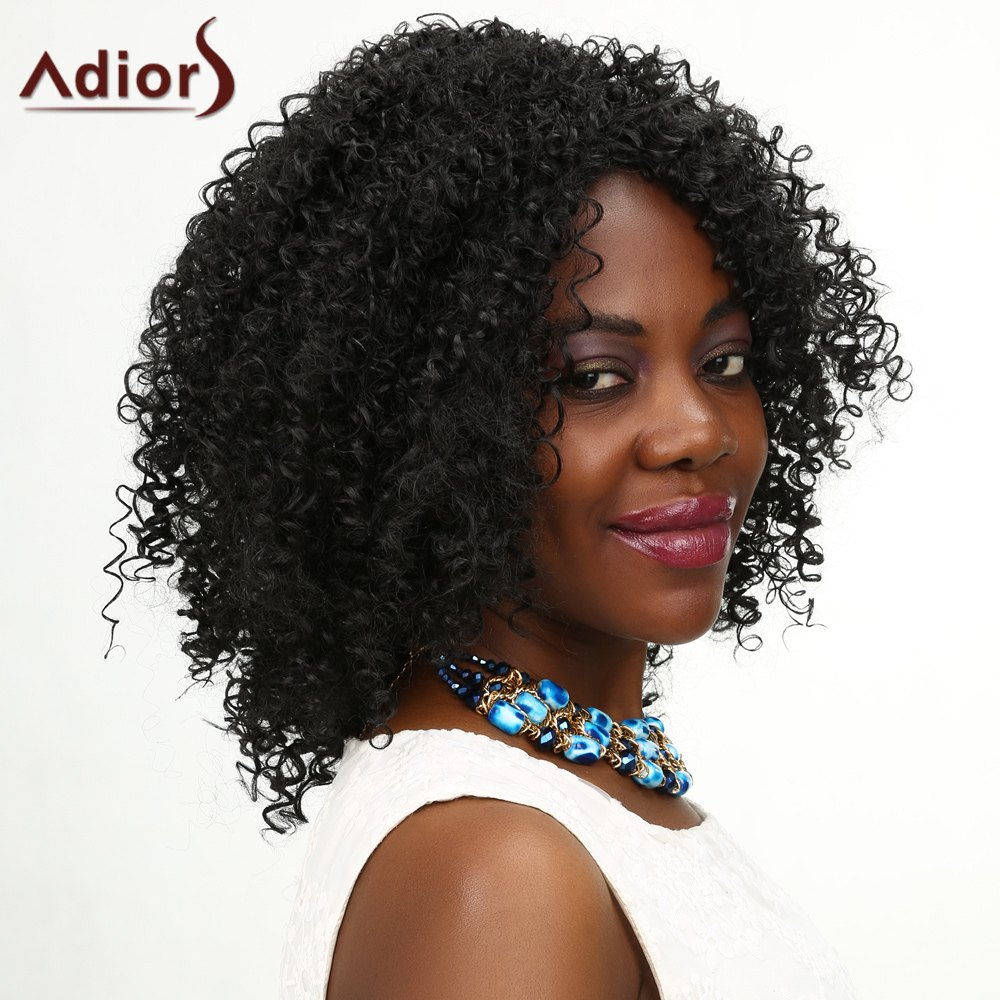 Adiors Kinky Curly Medium Middle Parting Shaggy Synthetic Wig adiors long middle parting shaggy wavy color mix synthetic party wig
