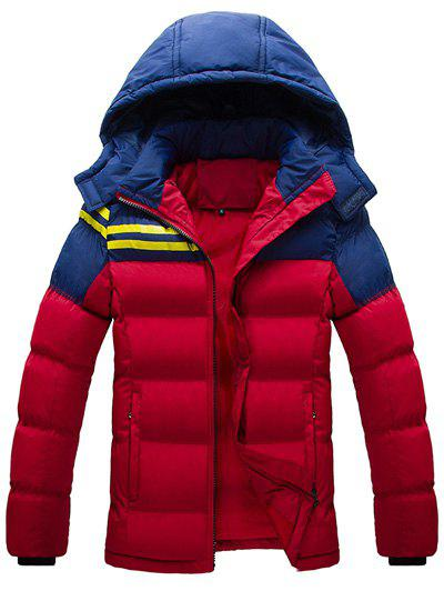 Color Block Striped Zip Up Hooded Quilted Jacket - RED L