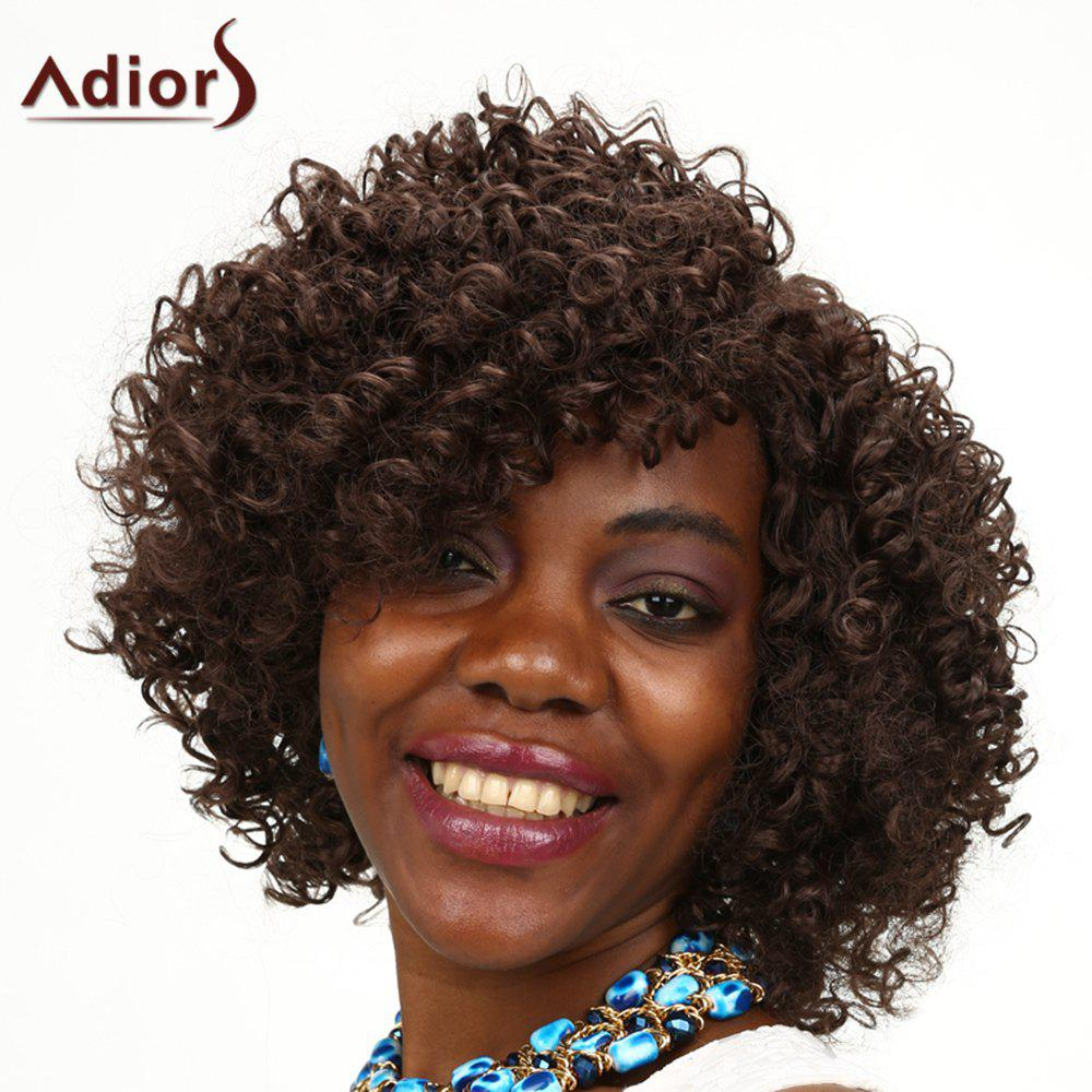 Adiors Kinky Curly Medium Side Parting Shaggy Synthetic Wig long shaggy deep side part kinky curly synthetic wig