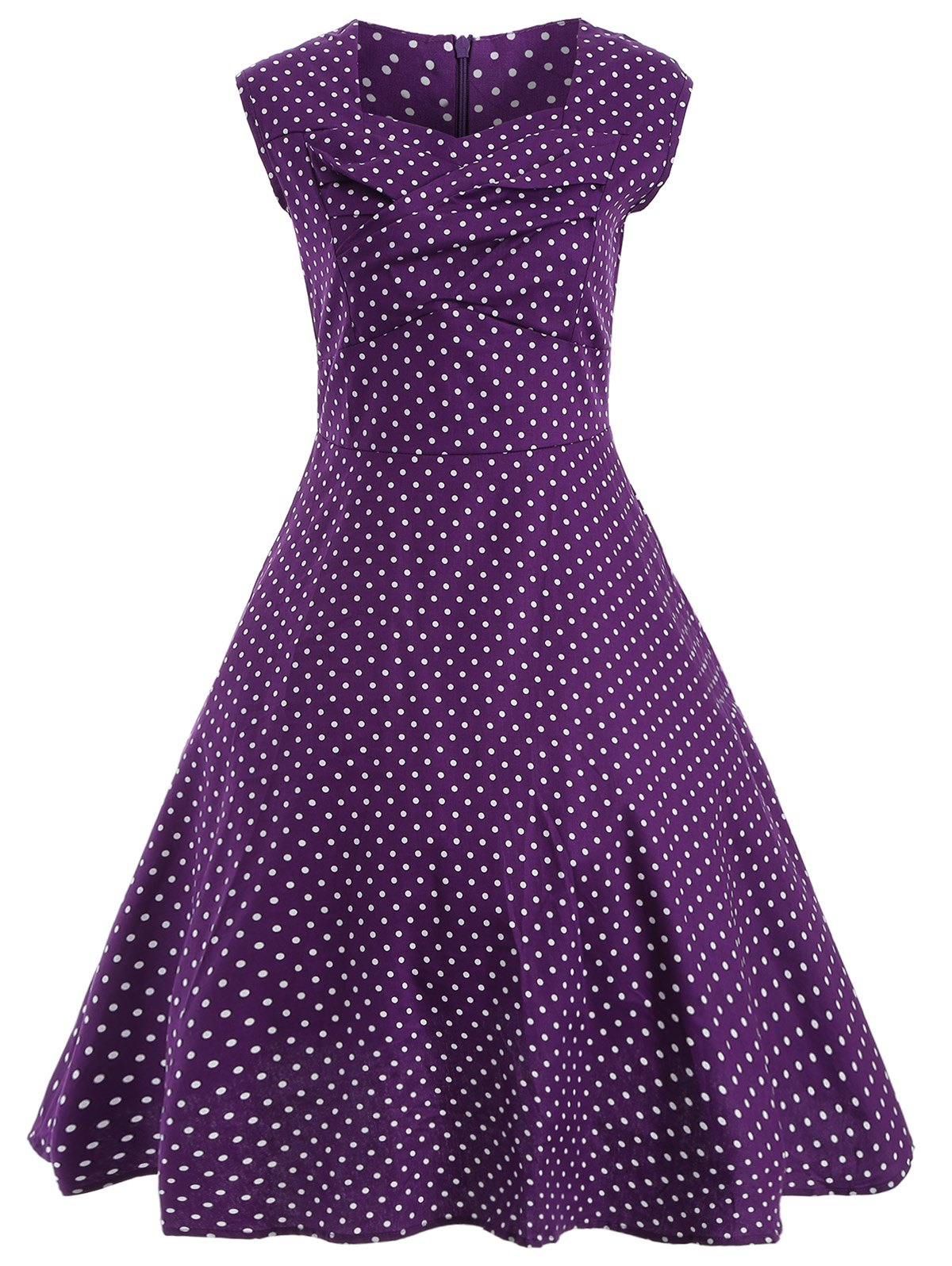 Audrey Hepburn Style Tiny Polka Dot Pattern Skater Dress - PURPLE 2XL