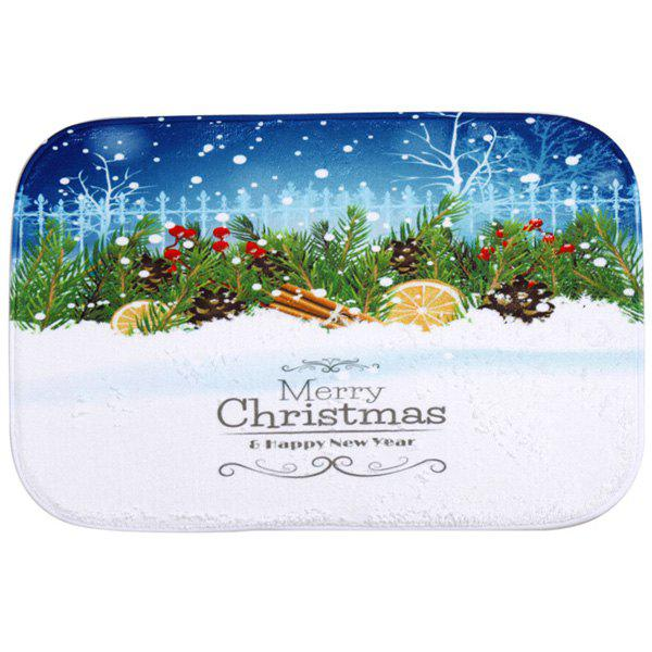 Winter Snow Antislip Fleece Room Christmas Decor Doormat Carpet - BLUE