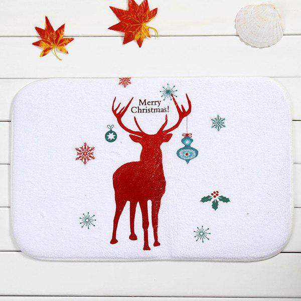 Merry Christmas Deer Antislip Room Decor Doormat Carpet - WHITE