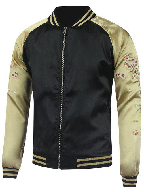 Plum Blossom Color Block Deer Embroidery Raglan Sleeve Jacket - BLACK XL