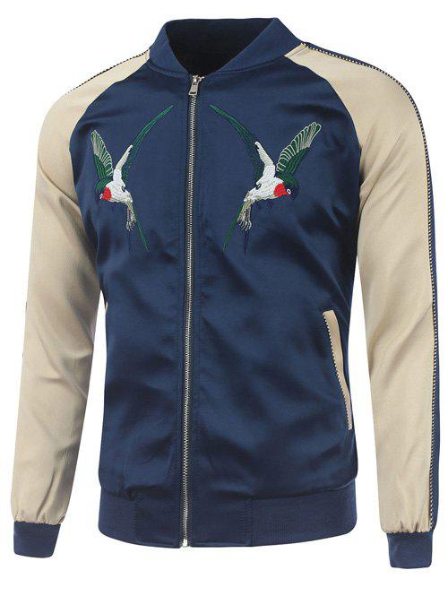 Bird Embroidery Raglan Sleeve Rib Spliced Jacket - CADETBLUE 2XL