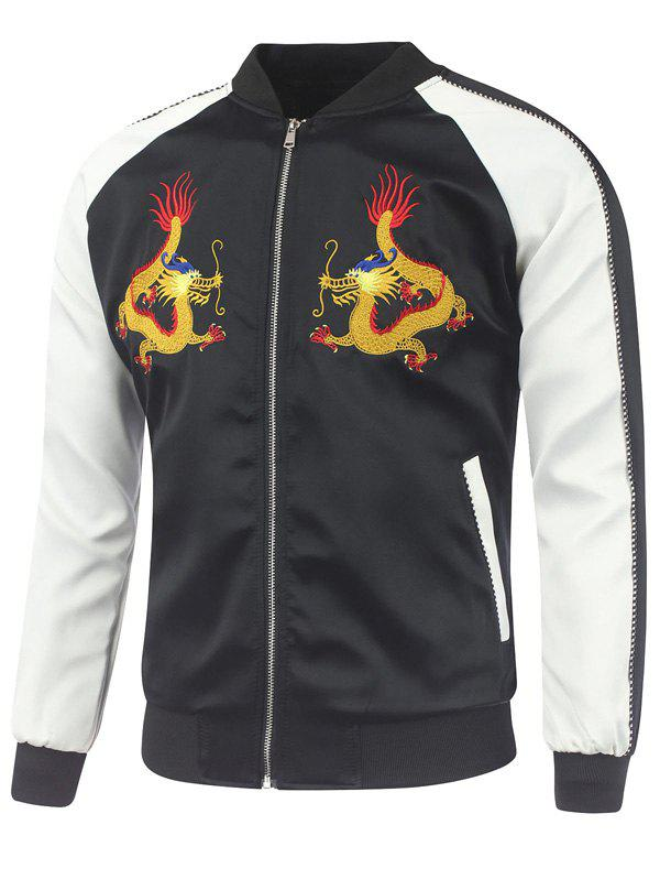 Dragon Embroidery Raglan Sleeve Rib Spliced Jacket - BLACK XL