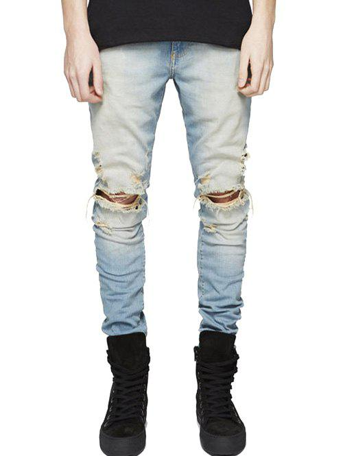Slim Fit Zip Fly Jeans with Extreme Rips slim fit zip fly jeans with knee rips