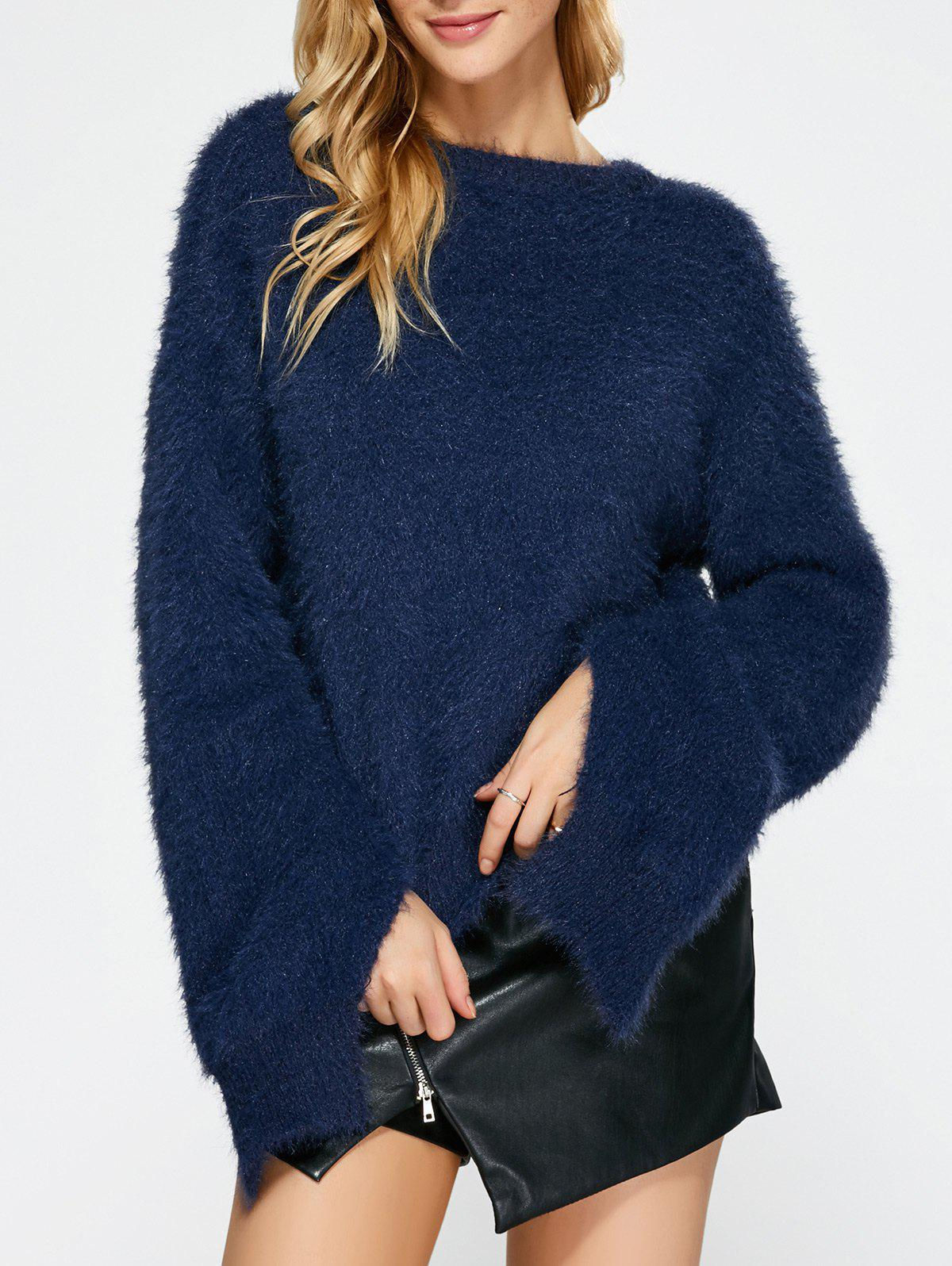 Slit Sleeve Fuzzy Sweater - PURPLISH BLUE ONE SIZE