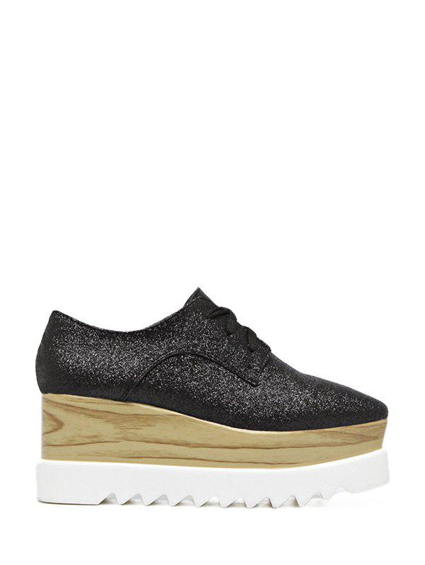 Tie Up Square Toe Sequined Wedge Shoes - BLACK 38