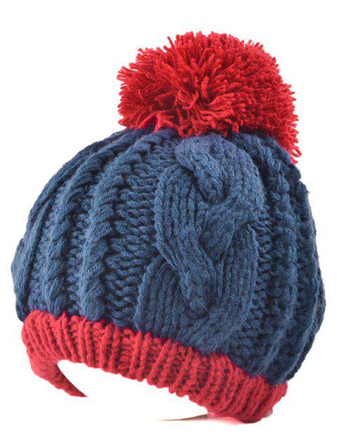 Twist Knit Double Color Ball Beanie - PURPLISH BLUE