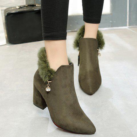 Faux Fur Pointed Toe Rhinestone Ankle Boots - ARMY GREEN 38