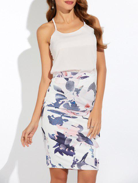 Tank Top and Back Slit Printed Skirt Twinset - WHITE S