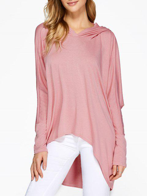 Hooded Batwing Sleeve High Low T-Shirt - PINK S