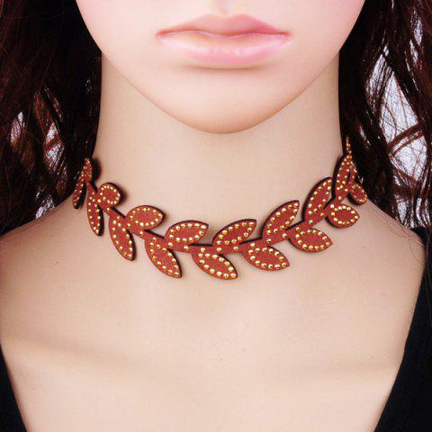 Velvet Rhinestone Leaves Choker - BROWN