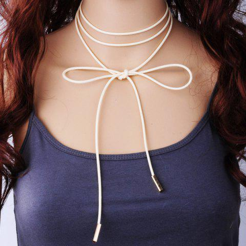 PU Rope Layered Tie Choker Necklace - BEIGE
