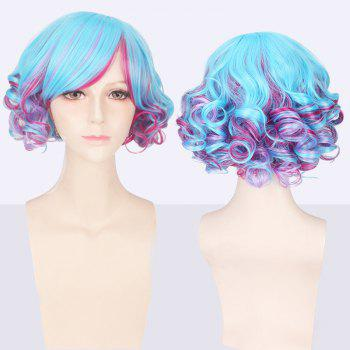 Short Side Bang Double Color Curly Cosplay Synthetic Wig