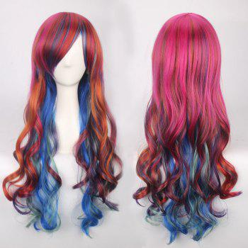 Long Side Bang Colorful Wavy Cosplay Synthetic Wig