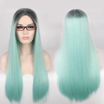 Long Centre Parting Double Color Straight Cosplay Synthetic Wig
