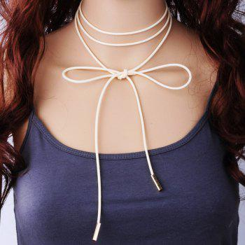 PU Rope Layered Tie Choker Necklace