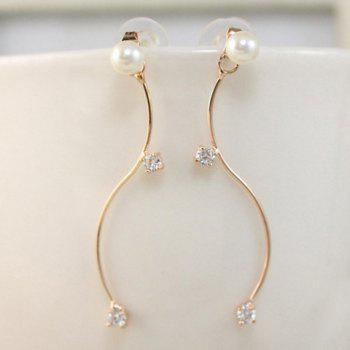 Zirconia S Shape Faux Pearl Earrings