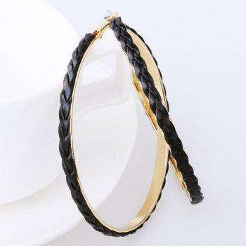 PU Leather Braid Hoop Earrings
