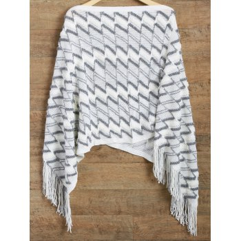 Zig Zag Asymmetrical Fringed Poncho Sweater