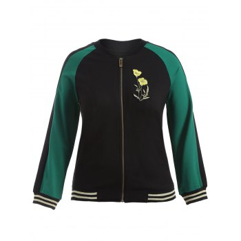 Plus Size Embroidered Baseball Jacket