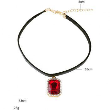 Rounded Rectangle Rhinestone Choker - RED