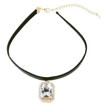 Rounded Rectangle Rhinestone Choker - SILVER WHITE